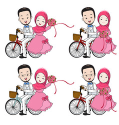 Muslim wedding cartoon riding a bicycle vector