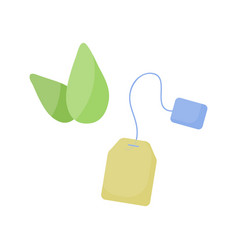 tea bag and leaves flat icon set vector image