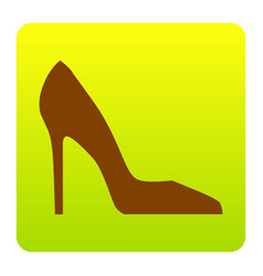 woman shoe sign brown icon at green vector image vector image