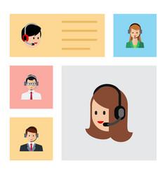 flat icon telemarketing set of service hotline vector image vector image