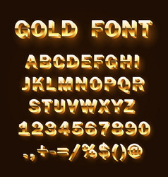 font 3d gold sign set template design element vector image vector image