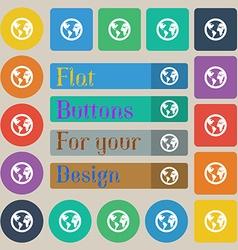 Globe icon sign Set of twenty colored flat round vector image