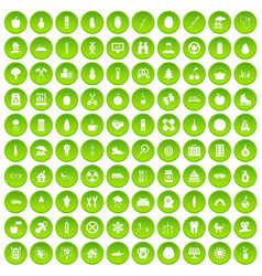 100 child health icons set green circle vector