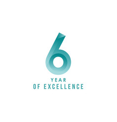 6 year excellence template design vector