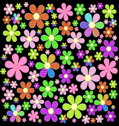 A fabulous field colorful flowers on the vector