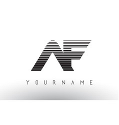 af black and white horizontal stripes letter logo vector image