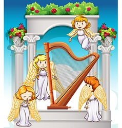 Angels flying around the harp vector image