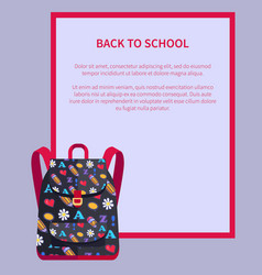 Back to school banner with place for text backpack vector