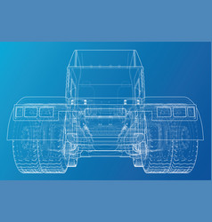 back view truck isolated on blue background vector image