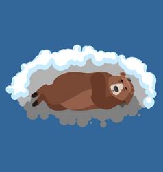 bear sleeps in den grizzly asleep emotions wild vector image
