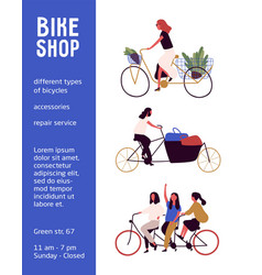 bicycle shop poster vector image
