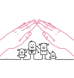 Big hands and cartoon family - roof vector