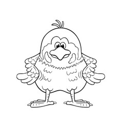 black and white funny cartoon sparrow vector image