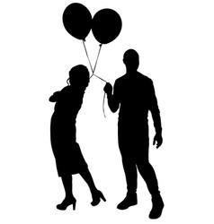boy and girl with balloons silhouette vector image
