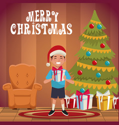 Boy in christmas cartoon vector