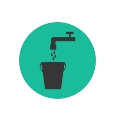 Bucket and water tap silhouette vector