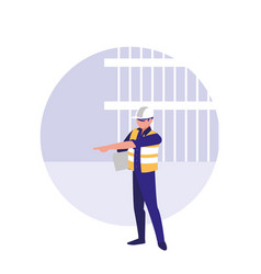 builder man with reflective vest avatar character vector image