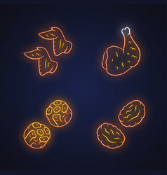 Butchers meat neon light icons set chicken wings vector