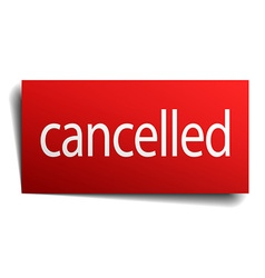 Cancelled red paper sign isolated on white vector