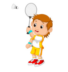 Cartoon boy playing badminton vector