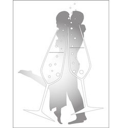 Champagne Glass Kiss vector image