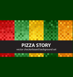 Checkerboard pattern set pizza story seamless vector