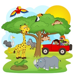 Children on safari tour vector