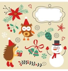 Christmas decorative elements and icons vector image