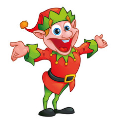 christmas elf in cartoon style vector image
