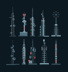 communication towers cellular set amplifiers vector image