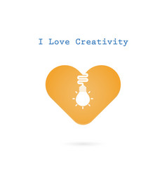 creative light bulb and heart sign design banner vector image