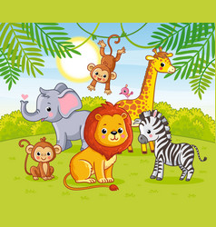 cute african animals in jungle animals vector image