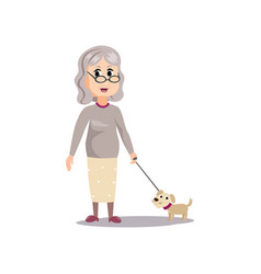 cute fashion old senior woman with small dog vector image