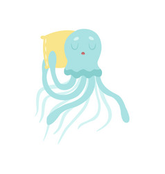 cute octopus sea creature sleeping on pillow vector image