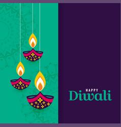Decorative happy diwali diya lamps background vector