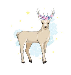 deer cartoon designcute bambi animal merry vector image