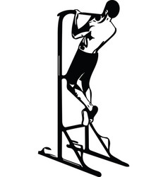 drawing of man doing crossfit push ups with trx vector image