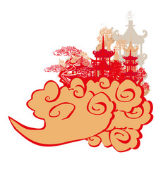 Elegant frame with chinese temple vector