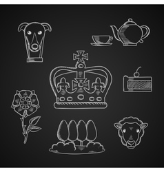 England traditional symbols and icons vector