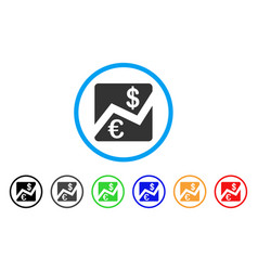 euro and dollar finance rounded icon vector image