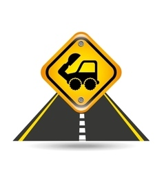 Excavator truck yellow road street sign vector