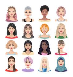 Female avatar set isolated on white vector