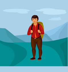female hiker in the mountains cartoon vector image