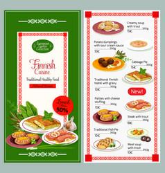Finnish cuisine dishes menu vector