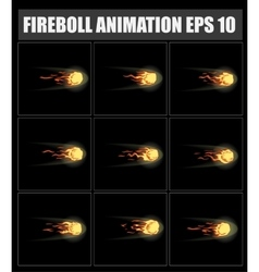 fireball animation sprite sheet for game vector image