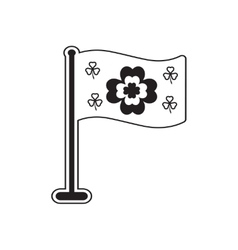 Flat icon in black and white clover flag vector