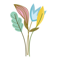 Flowers stem leaf nature isolated style vector