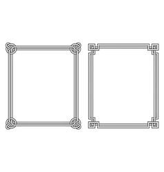 frame vintage corner made of triangles circles set vector image