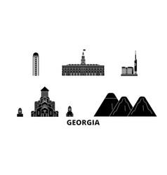 Georgia flat travel skyline set black vector