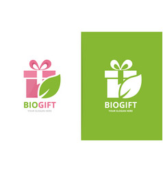 gift and leaf logo combination present and vector image